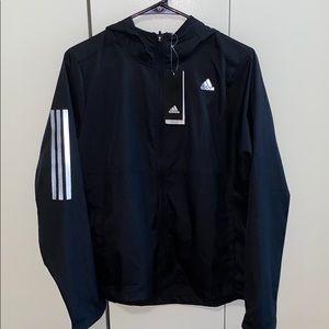 adidas black running windbreaker, NWT, size M